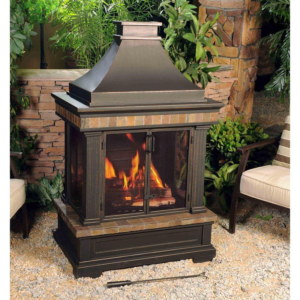 Sunjoy Amherst 35 in WoodBurning Outdoor Fireplace in 2019  Decor for the Great Outdoors