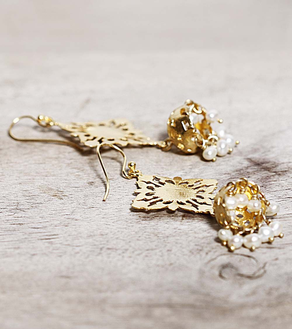 Gold Filigree Jhumki Earrings