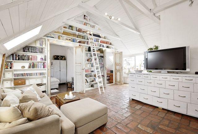 dachwohnung einrichtung-skandinavischer stil design bibliothek ... - Dachwohnung Im Skandinavischen Stil