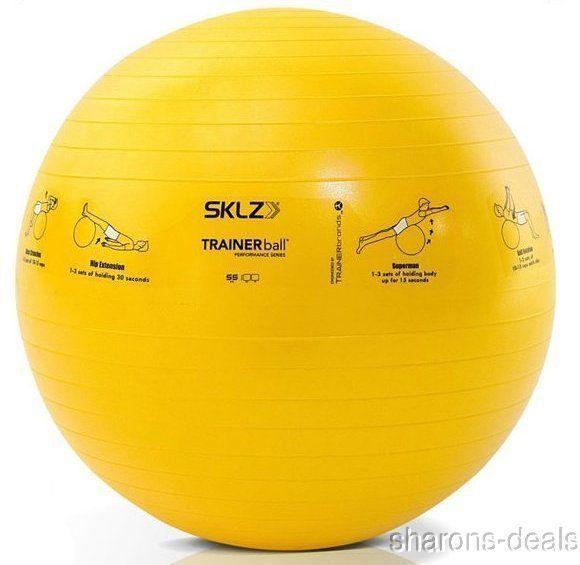SKLZ Fitness Trainer Stability Ball Yellow 55 CM Self Guided Exercise Strengthen #SKLZ