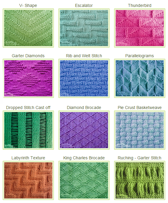 Knit Purl Stitch Patterns Knitting Pinterest Stitch