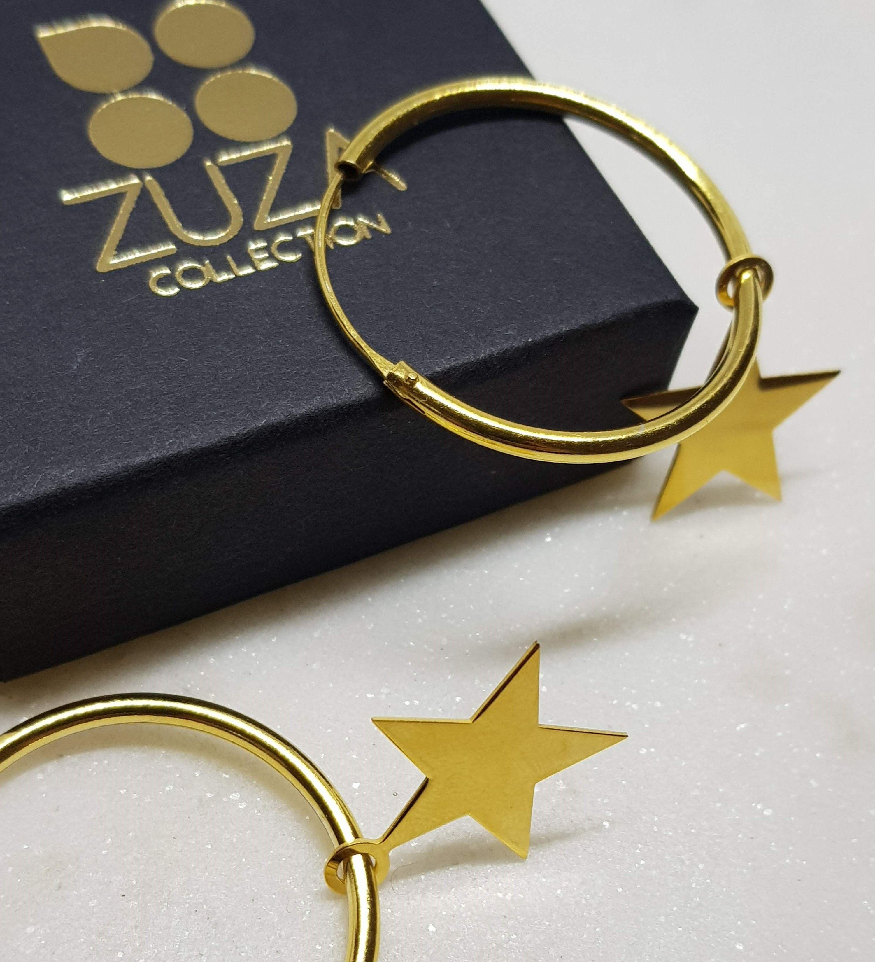 7cffc4d1e68c Aros argollas de plata 925 sterling con pediente el forma de estrella.  Diametro externo