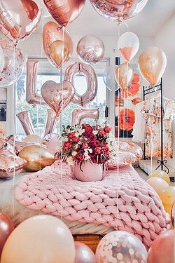 Valentine party table balloons hardy and drink bacardi in valentines birthday parties also rh pinterest