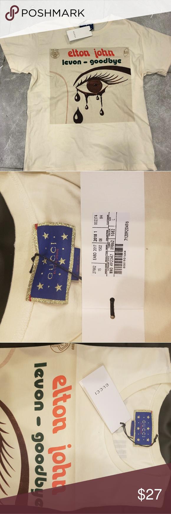 a2b43eec550 😘NWT Gucci Men s Elton John T-Shirt Size S-XL 😘Authentic Gucci ...
