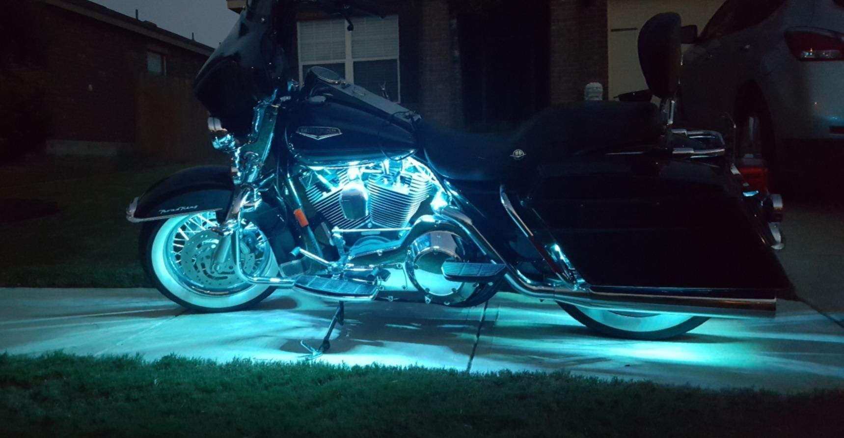 Beautiful Led Strip Lights On A Harley Motorcycle From Sunpie Harley Motorcycle Led Lighting Harley Davidson