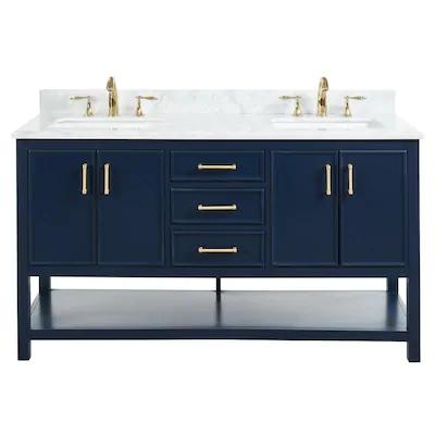 Allen Roth Presnell 61 In Navy Blue Double Sink Bathroom Vanity