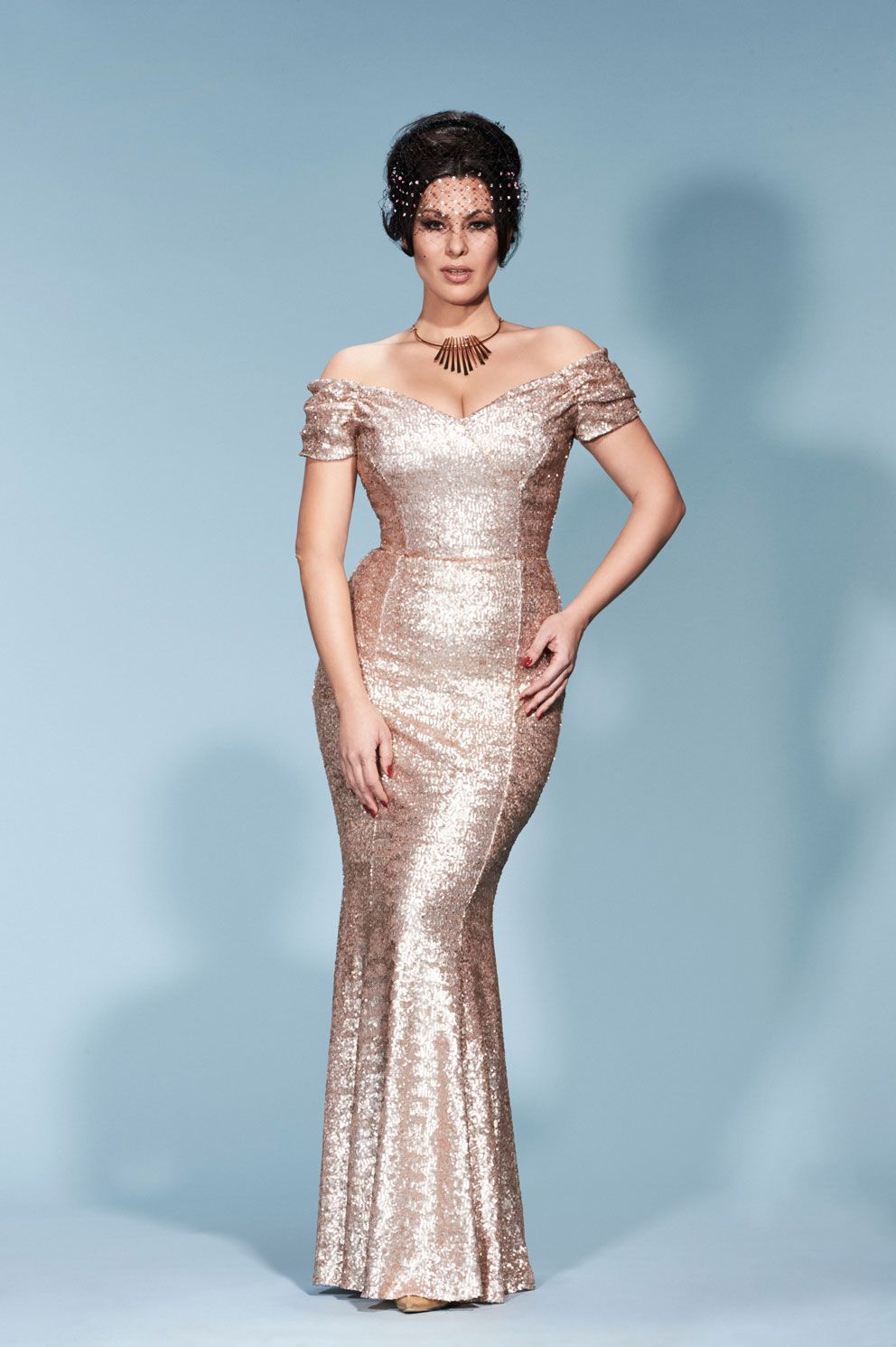 Fatale Pale Gold Sequin Gown | The Pretty Dress Company | Dresses ...