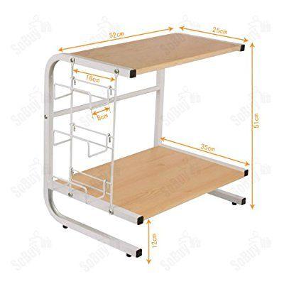 SoBuy® FRG092-N Meuble rangement cuisine de service en bois, étagère