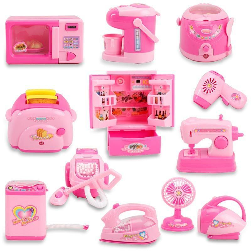 Pink Household Appliances Children Pretend Play Set In 2021 Toy Kitchen Toys For Girls Pretend Play Toys