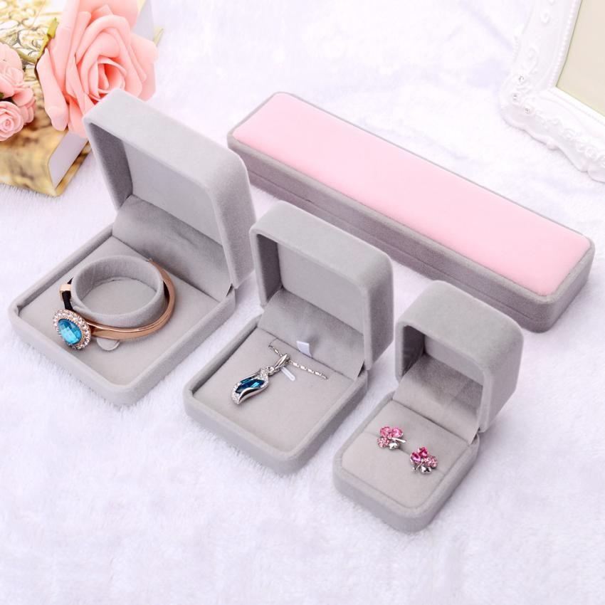 Quality Organizer Popular Grey Velvet Jewelry Display Tray Kit Ring
