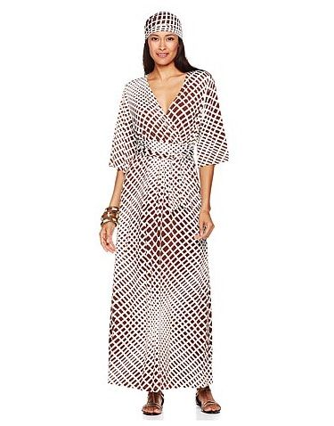 d2adbd1906 SUKI brown optic squares maxidress http   www.hsn.com products nikki-by- nikki-poulos-suki-maxi-dress-with-scarf 7368976