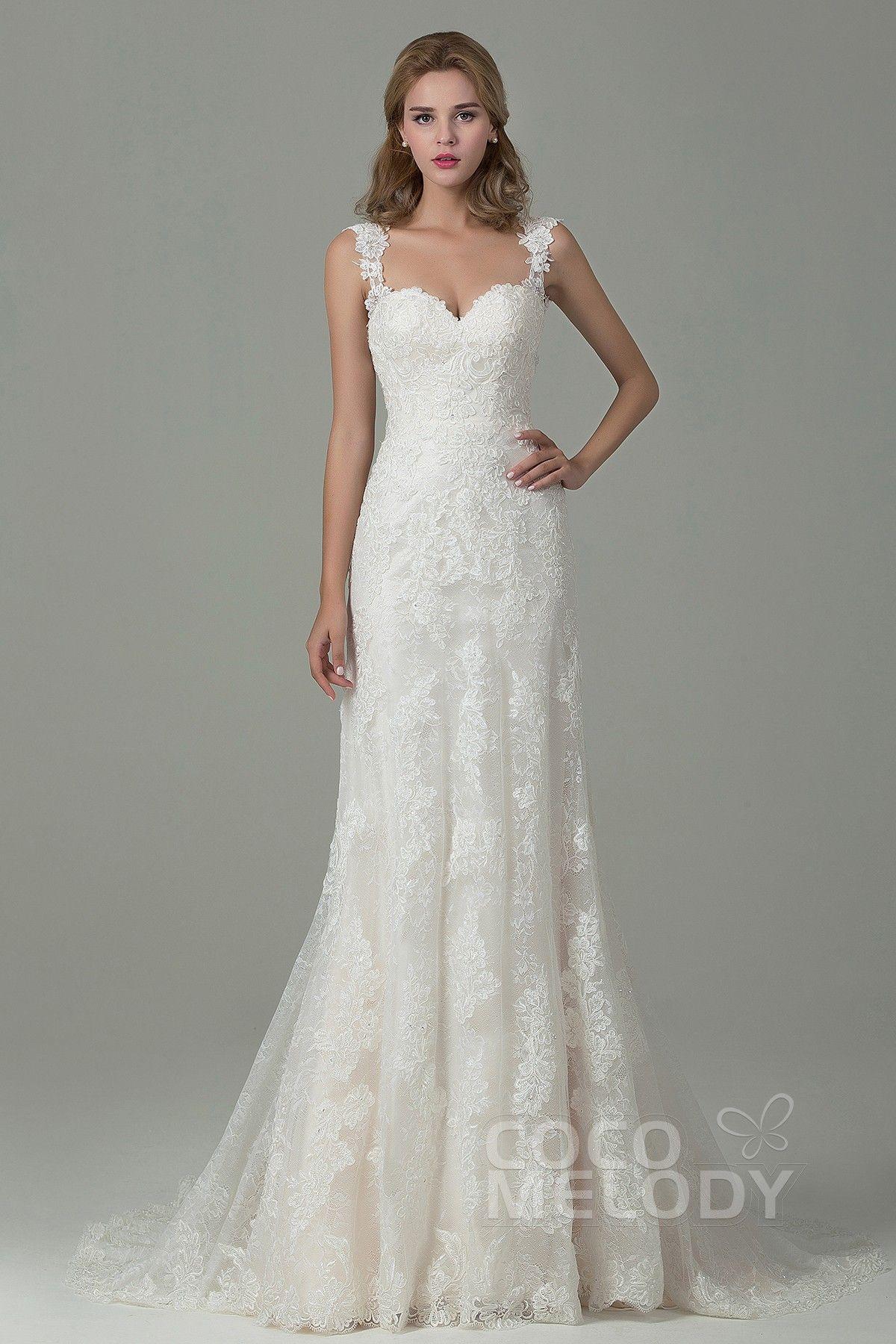 SheathColumn Court Train Lace Wedding Dress with Appliques CWVT15002  My Fairytale Wedding