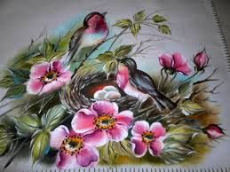 pintura de passaros em tecido - Pesquisa Google