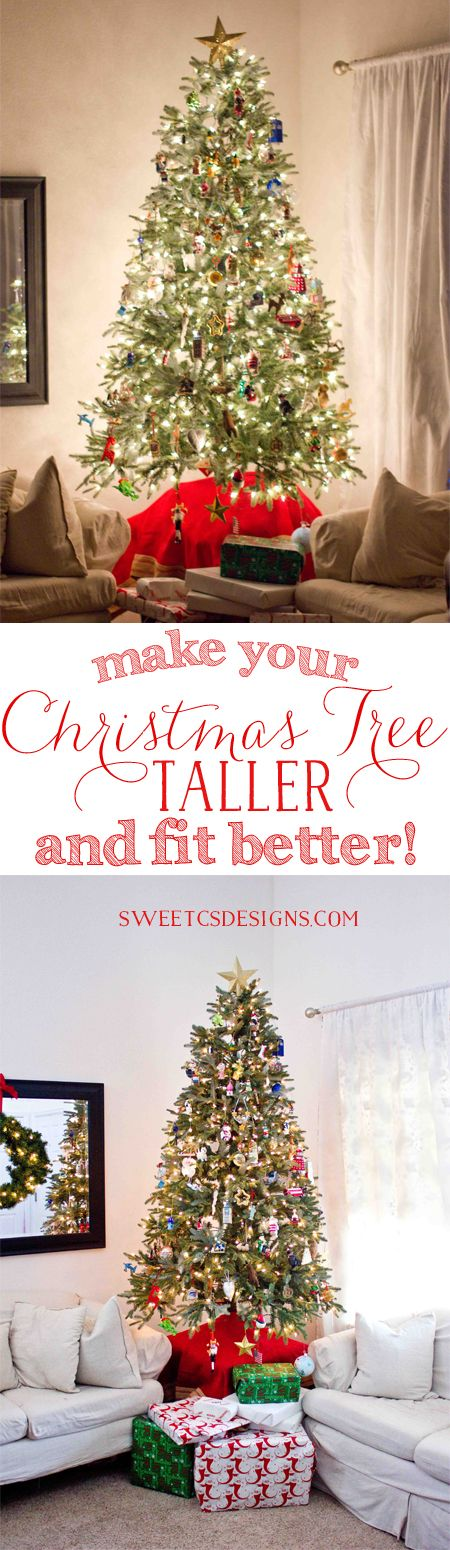Make Your Christmas Tree Taller This Is Such A Great Idea To Fit In Your Room Better And Save Money Christmas Tree Themes Christmas How To Make Christmas Tree