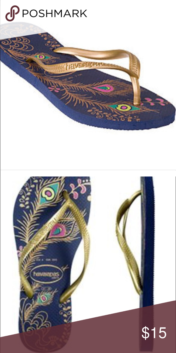 b248be214 Havaianas peacock flip flops Navy and gold Havaianas Shoes Sandals ...