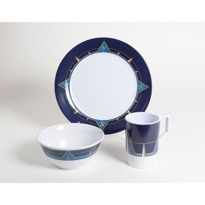 Galleyware  Company Decorated Melamine Compass 18 Piece Dinnerware Set