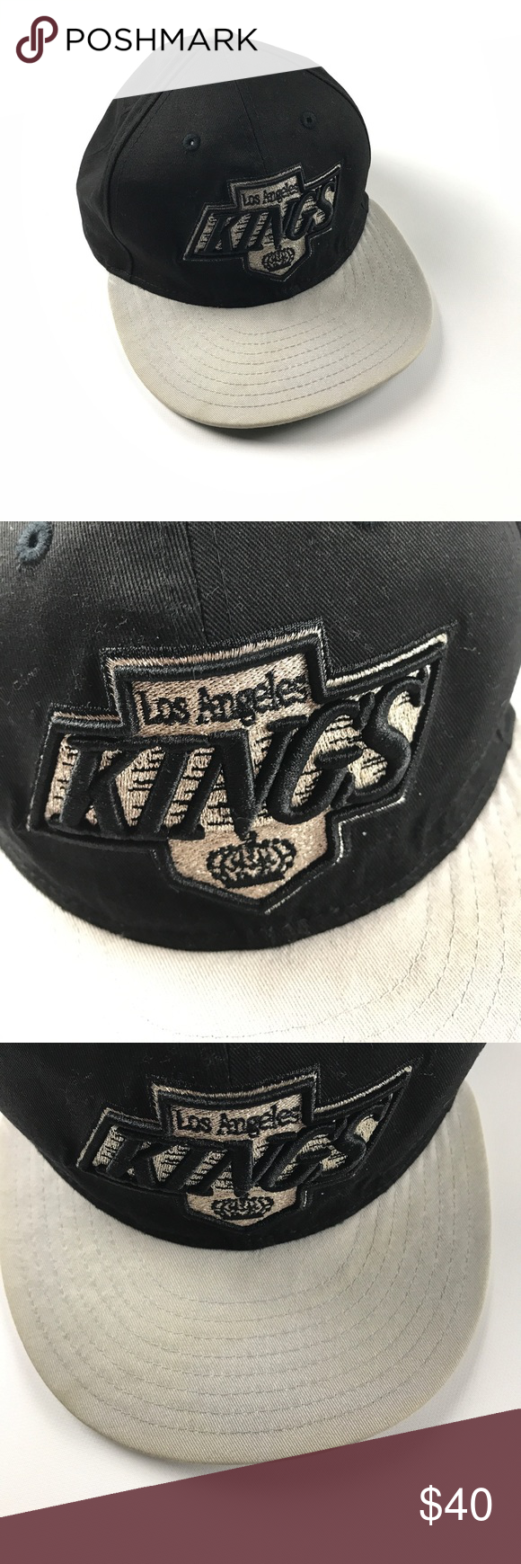 Vintage New Era LA Kings Retro Snapback Hat Shows some wear on the brim New Era Accessories Hats