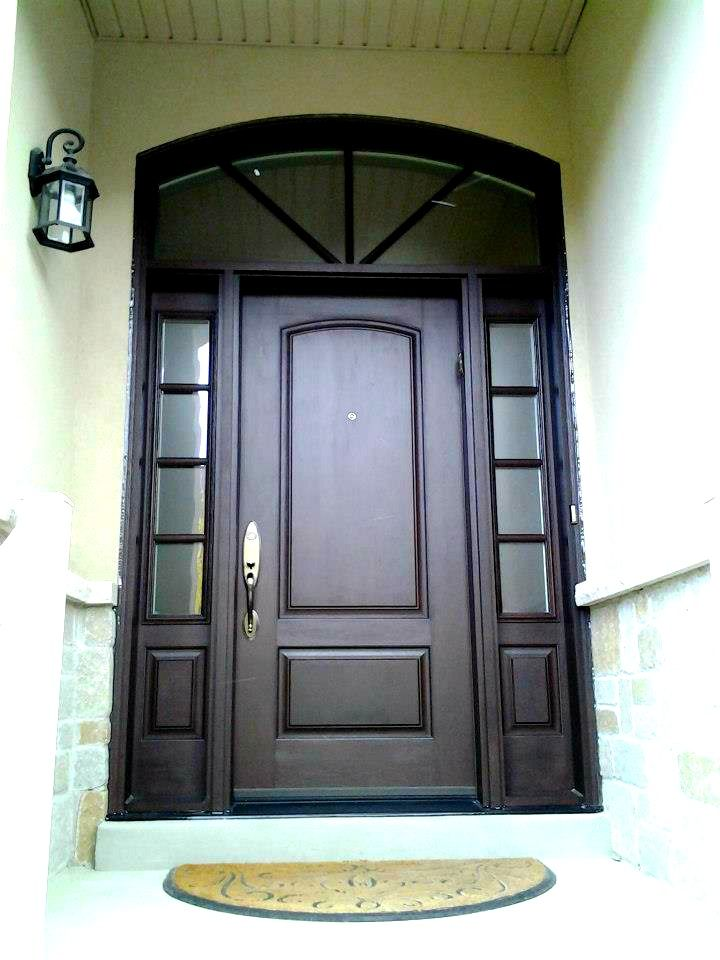 Custom Fiberglass Door And Sidelights With Simulated Grills On Frosted Glass  And Custom Matching Transom