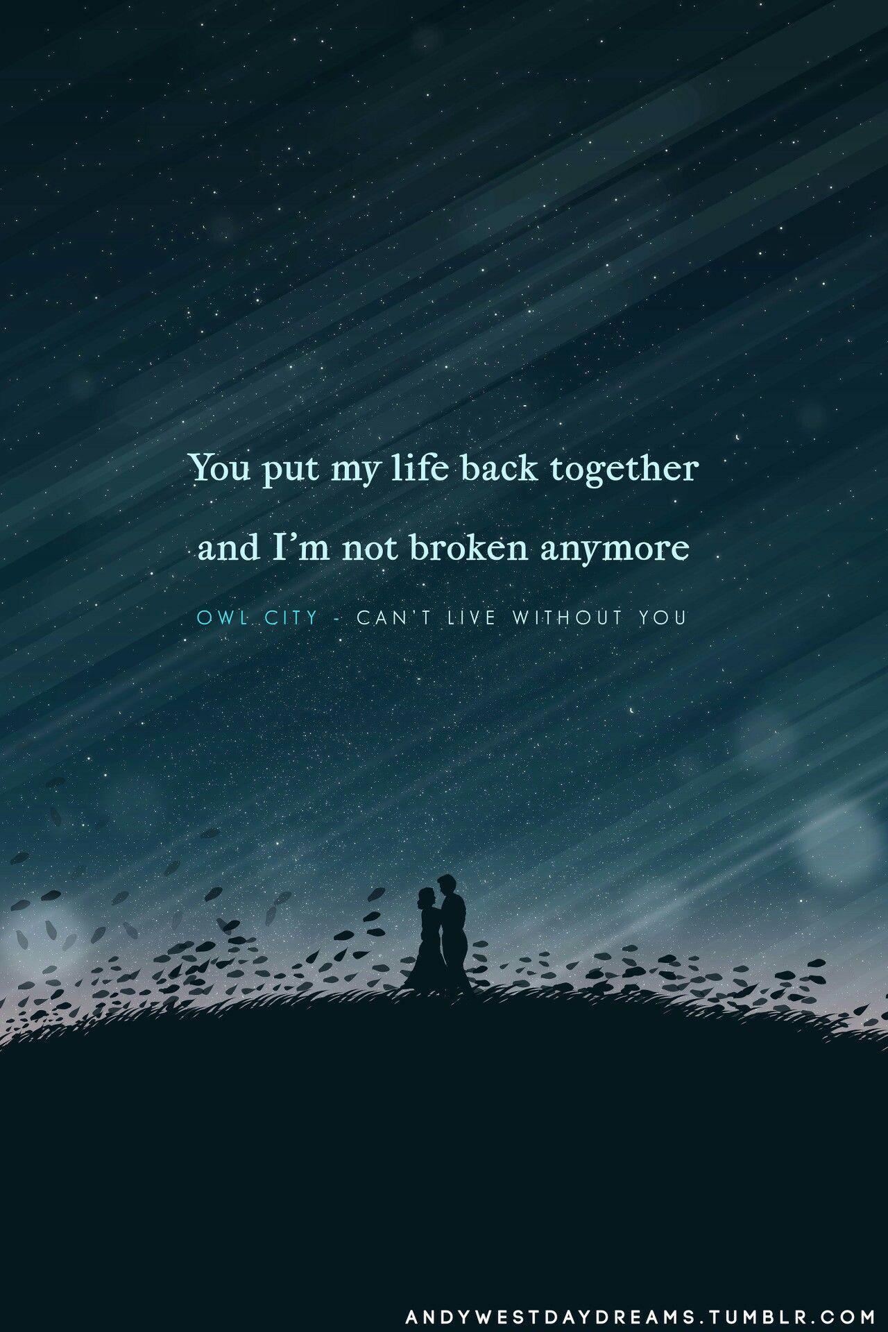 Can't Live Without You • #owlcity #lyrics | Owl city ...