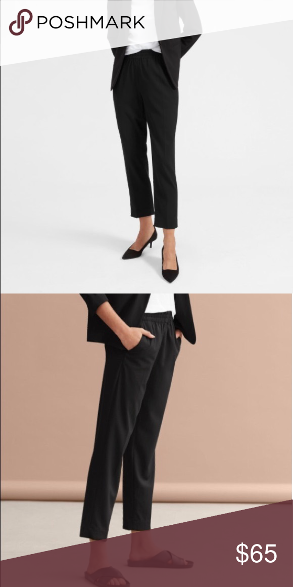 4721823acd6 Everlane Italian Goweave Easy Pant Flattering and comfortable pant for a  polished look. Black. Size 6. Elastic waistband. Barely worn. Everlane Pants  Ankle ...