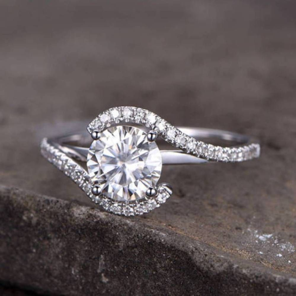 Details about ct white round moissanite bridal set engagement