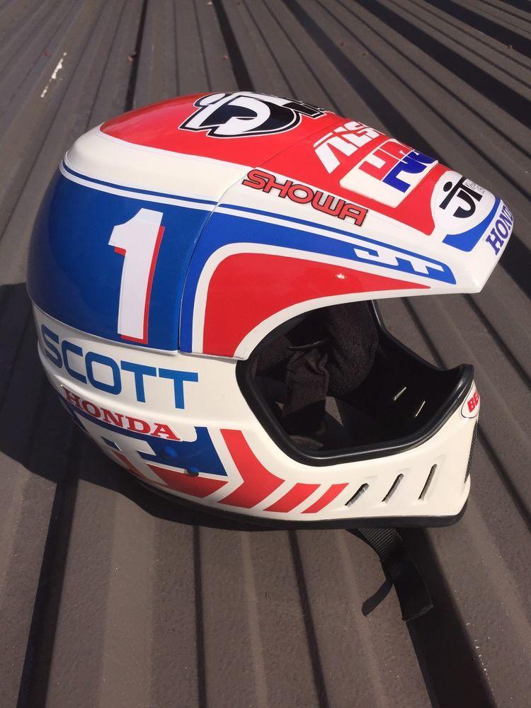Jt Racing Als 2 New Nos Red And Blue Helmet David Bailey Replica Ahrma Honda Casque Moto Vintage Moto Vintage Casque Moto