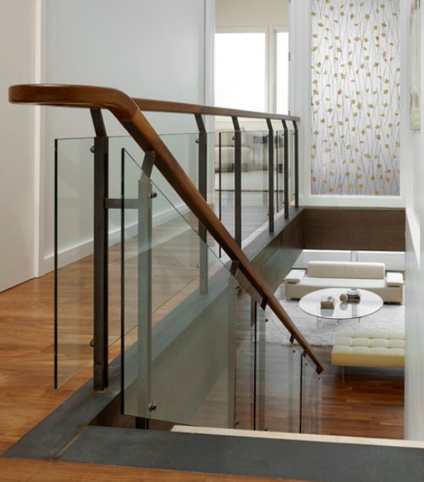 Modern Handrail Designs That Make The Staircase Stand Out | Wooden Stairs Railing Design With Glass