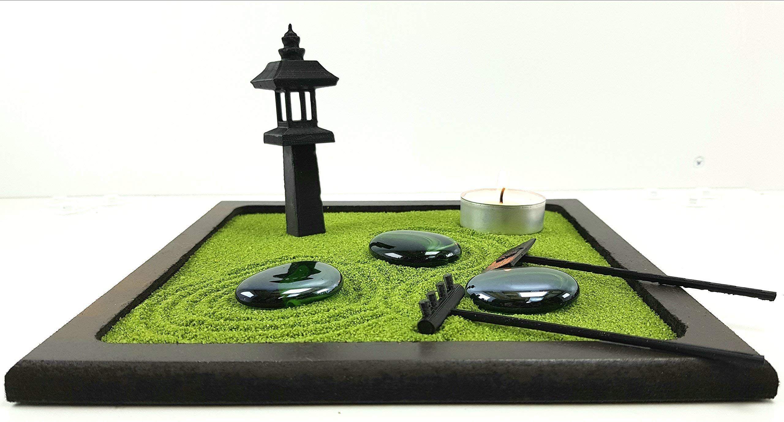 Bonseki Piccolo Giardino Zen Da Tavolo In Legno 20x20 Cm Con
