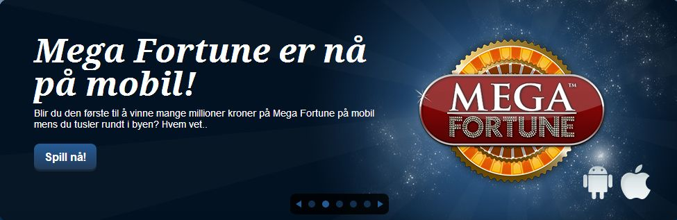 Mega Fortune er nå på mobil! Blir du den første til å vinne mange millioner kroner på Mega Fortune på mobil mens du tusler rundt i byen? Hvem vet..