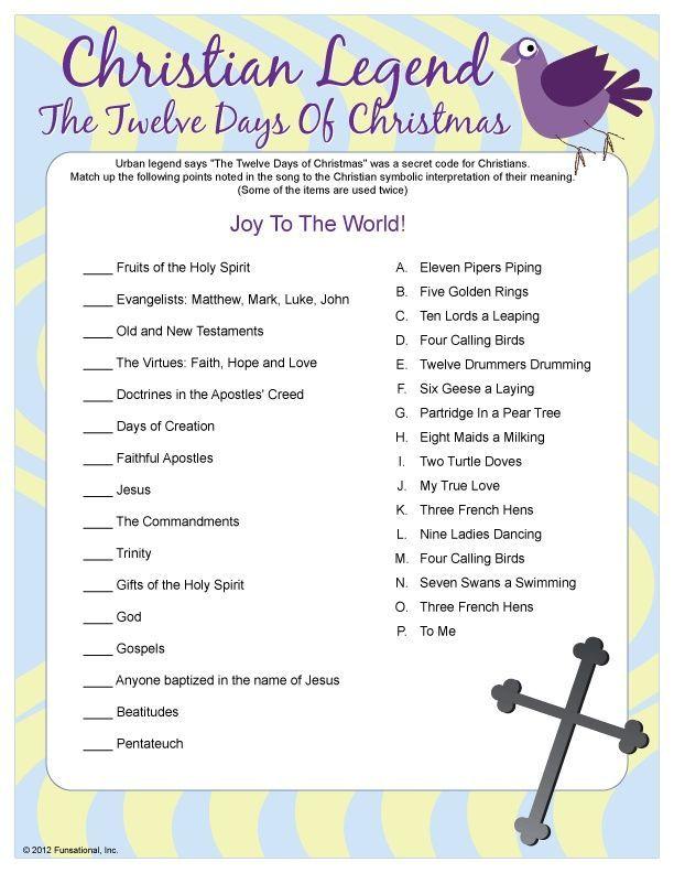 Christian Legend: The Twelve Days of Christmas:: | Christian christmas games, Catholic christmas ...