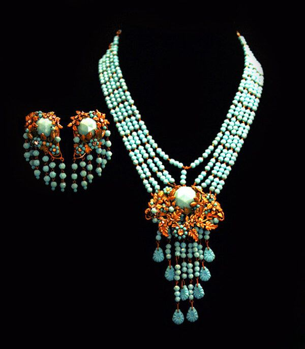 Miriam Haskell Necklace Earrings Jewelry Set Aqua Light Turquoise Blue Glass Miriam Haskell Parure Jewelry Haute Couture Vintage Jewelry by Laeclectica on Etsy https://www.etsy.com/listing/174874316/miriam-haskell-necklace-earrings-jewelry