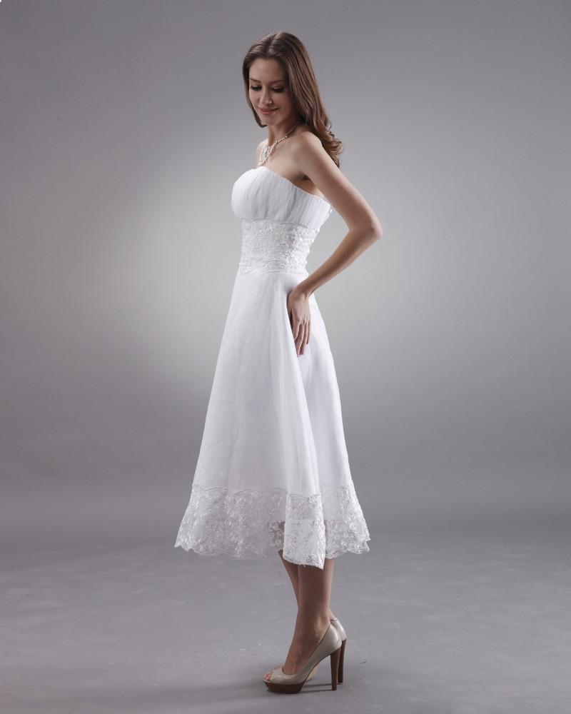 Strapless Tea Length Lace Mini Bridal Gown Wedding Dress Aline