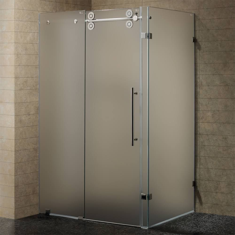 Pivot Door Frameless Shower Enclosure Vigo Trim Finish: Chrome ...