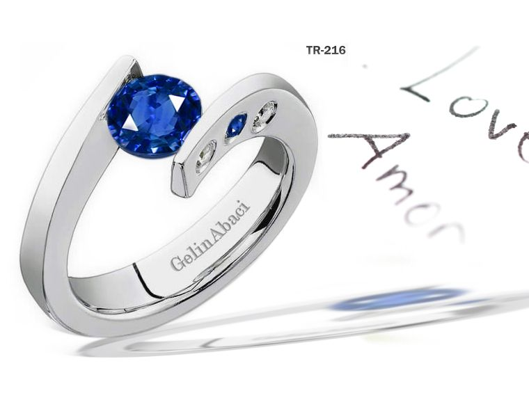 Blue Sapphire Diamond Tension Set Engagement Rings Tension Set