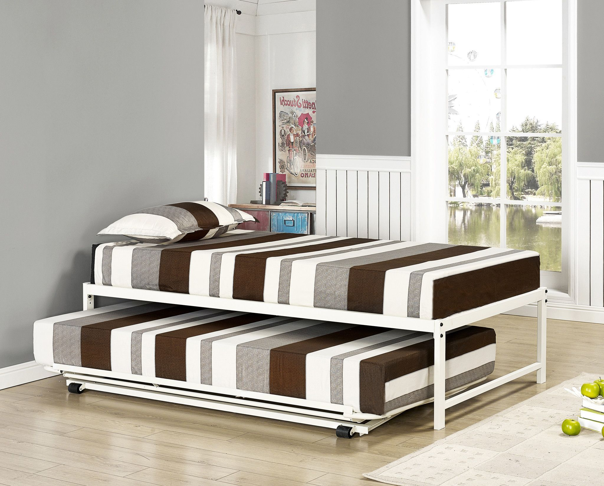 Pilaster Designs - 39\'\' / Twin Size White Metal High Riser Bed Frame ...