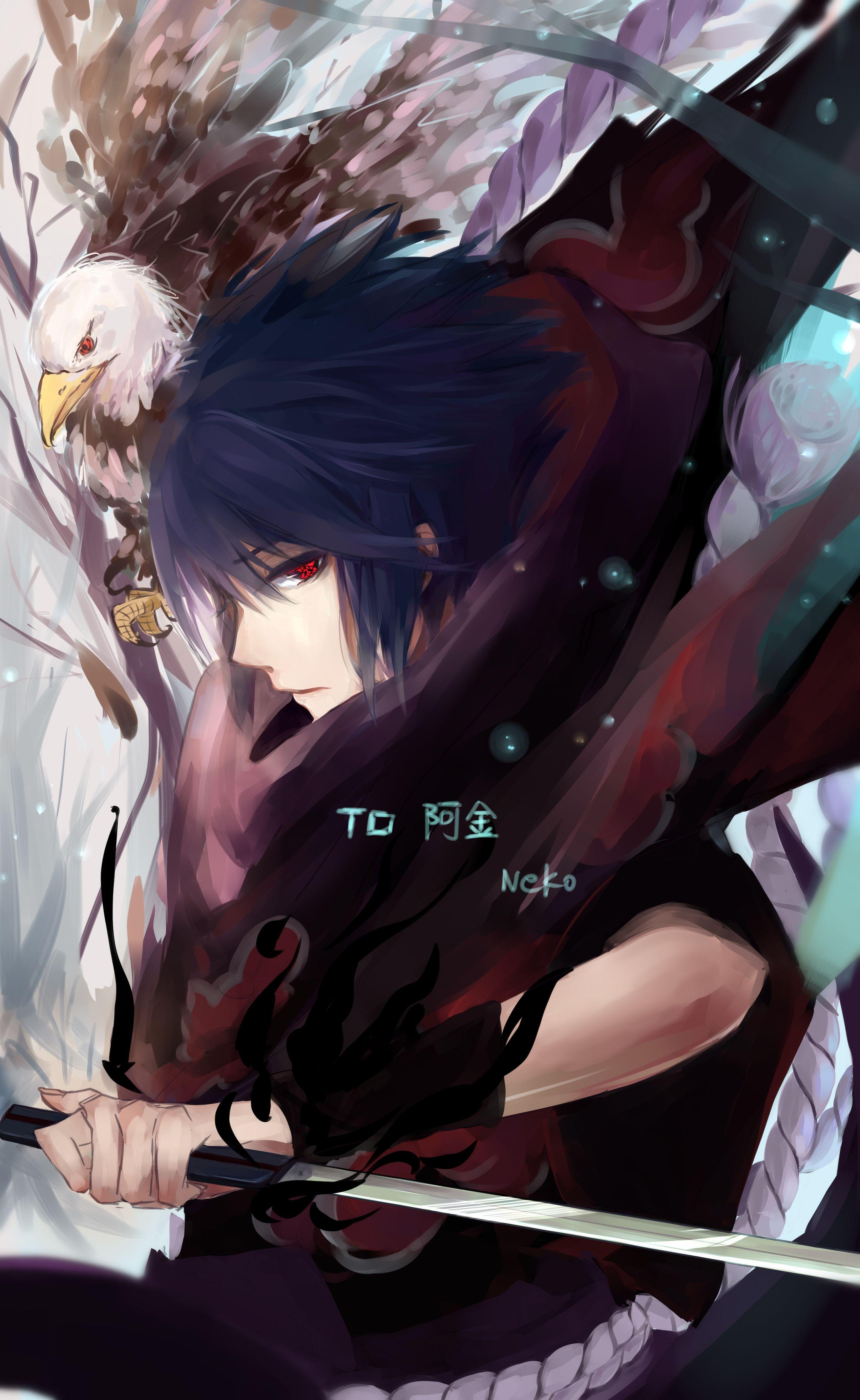 Pixiv Id 5160507 Naruto Uchiha Sasuke Sharingan Hawk
