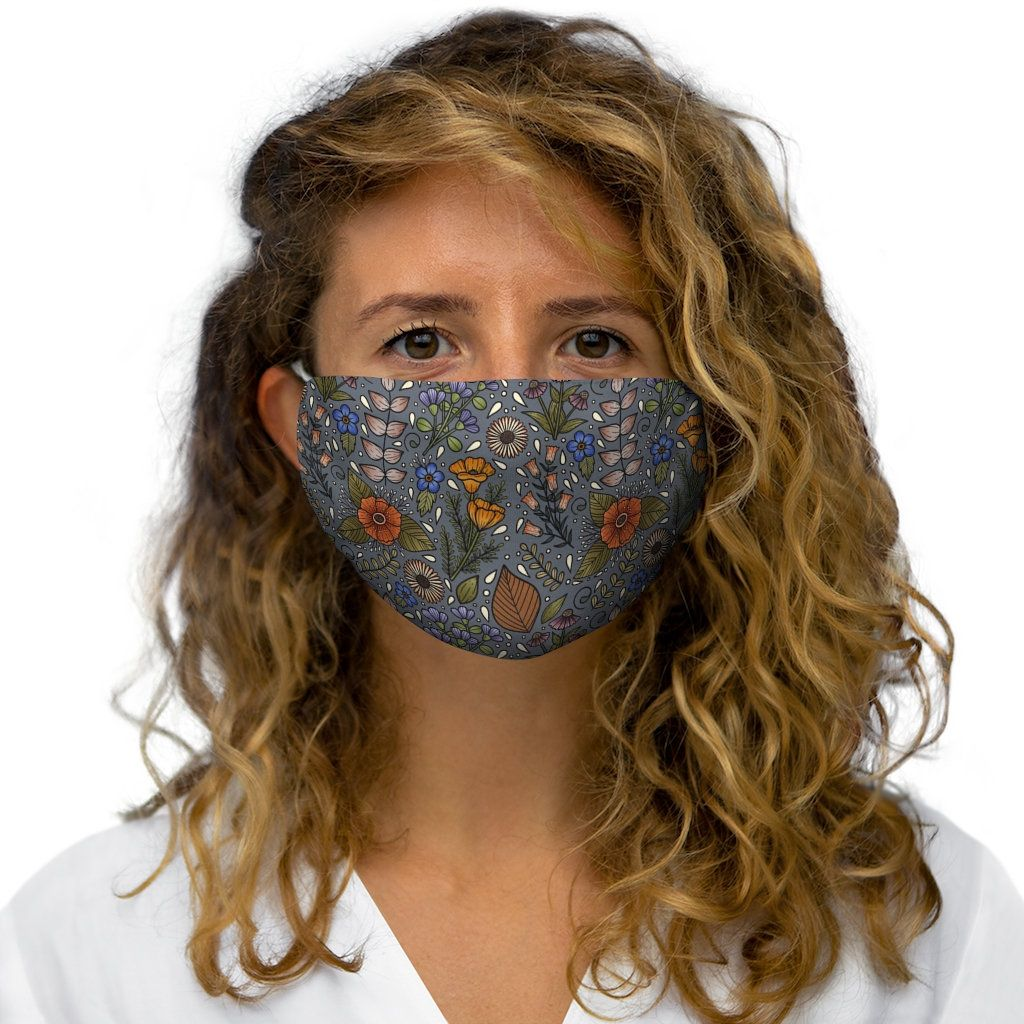 Photo of Grey floral mask | Polyester Face Mask | floral face mask | flower face mask | colorful facemasks | facemasks