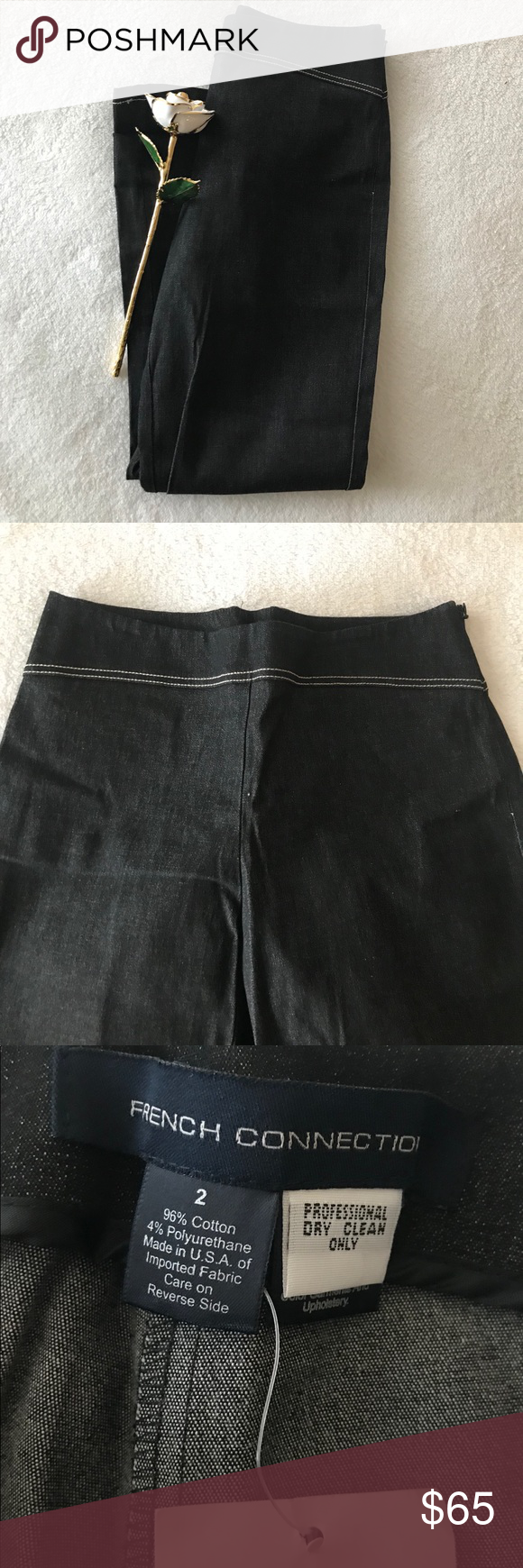 600b8ea52d French Connection Pants Size 2, never worn, comes with original tag. Fabric  96% cotton 4% polyurethane. Color Charcoal. Made in USA 🇺🇸 Waist 27.5  inches ...