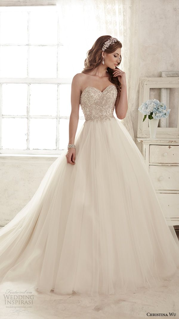 7d3e83db98b strapless sweetheart neckline embroidered bodice tulle skirt gorgeous ball  gown wedding dress 15583. Christina Wu ...