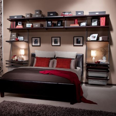 gorgeous master bedroom but with ikea shelves casa