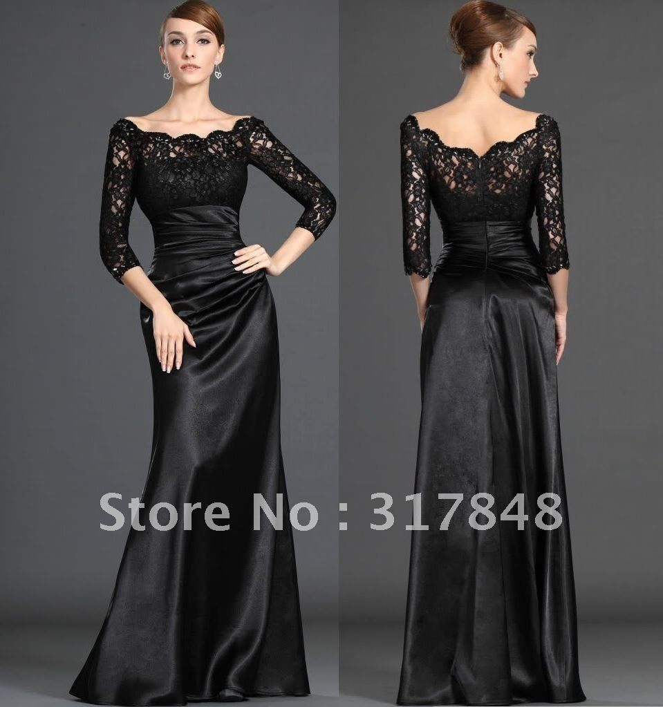 Black dress for prom night - Free Shipping Glamorous Noble Style Designer Black Off Shoulder Lace Sleeve Satin Fall Night Evening Prom