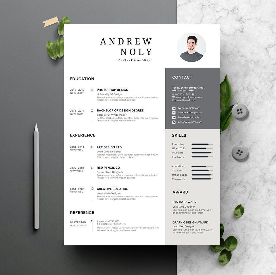 Resume & CV Template Instant Download 2 Pages CV template