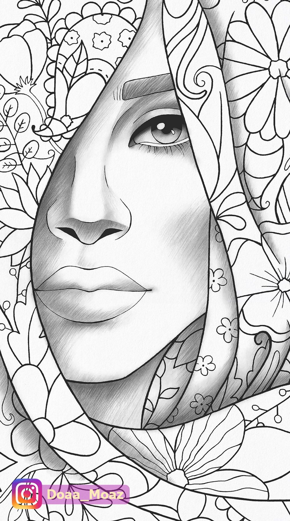 Adult coloring page girl portrait and clothes colouring sheet floral pdf printable anti-stress relaxing zentangle line art