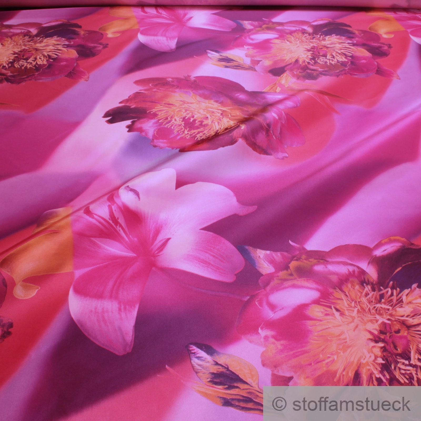 Stoff Polyester Kleidertaft lachs Blume Stickerei Taft bedruckt blickdicht