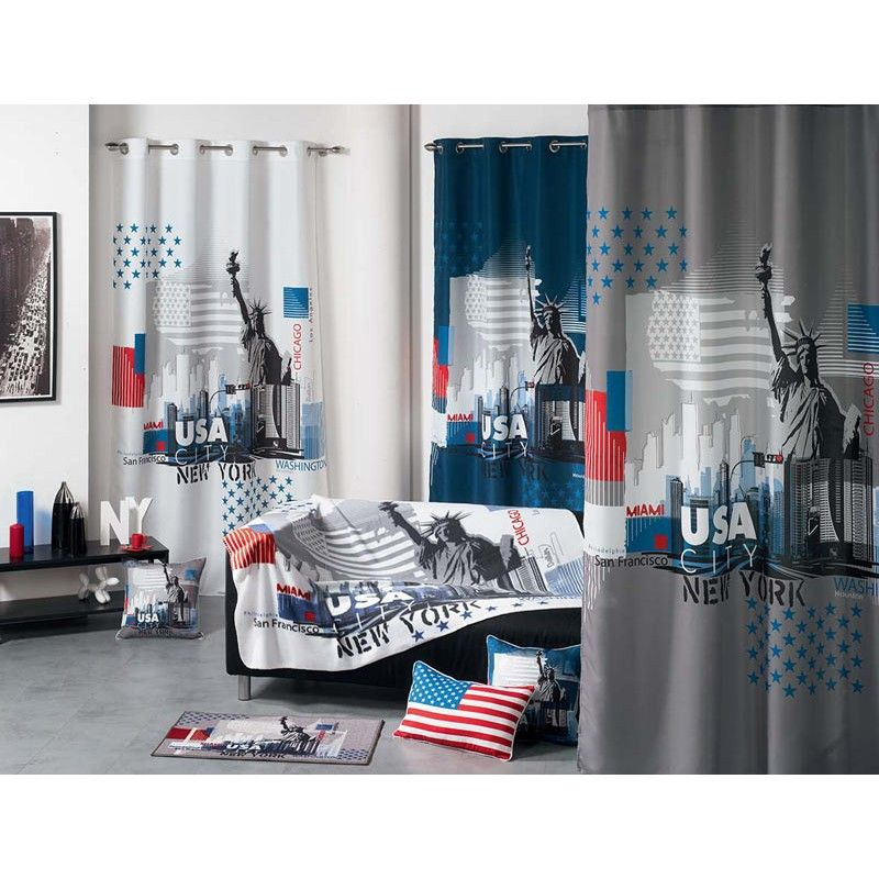 beautiful disponible sur rideau occultant usa city blanc. Black Bedroom Furniture Sets. Home Design Ideas