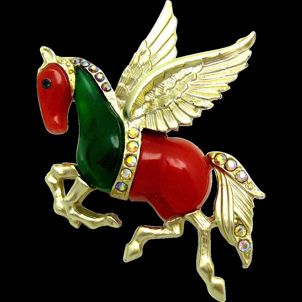 Vintage HATTIE CARNEGIE 1950s Pegasus Flying Horse Rhinestone Brooch Pin Magical!