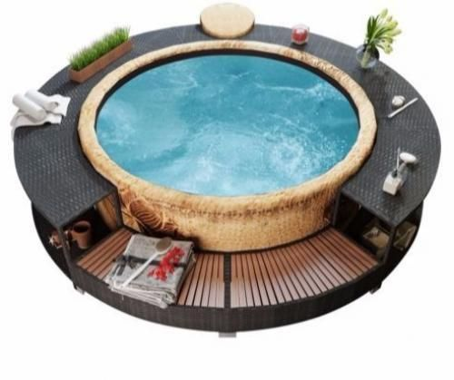 Outdoor Poly Rattan Furniture Spa Area Functional Modern