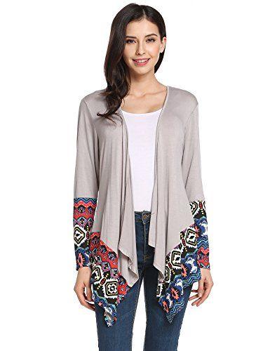 Meaneor Women's Print Open Front Drape Boyfriend Knit Cardigan Sweaters (Gray Large)