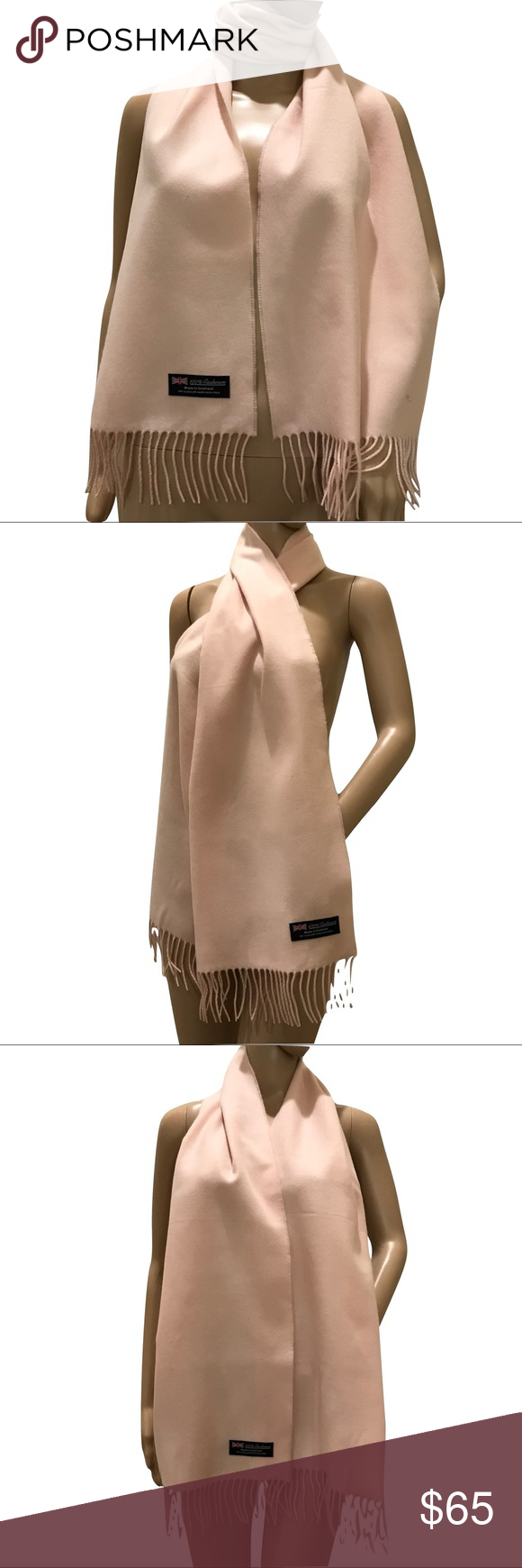 100% Cashmere Blush Pink Scarf Blush Pink colored cashmere