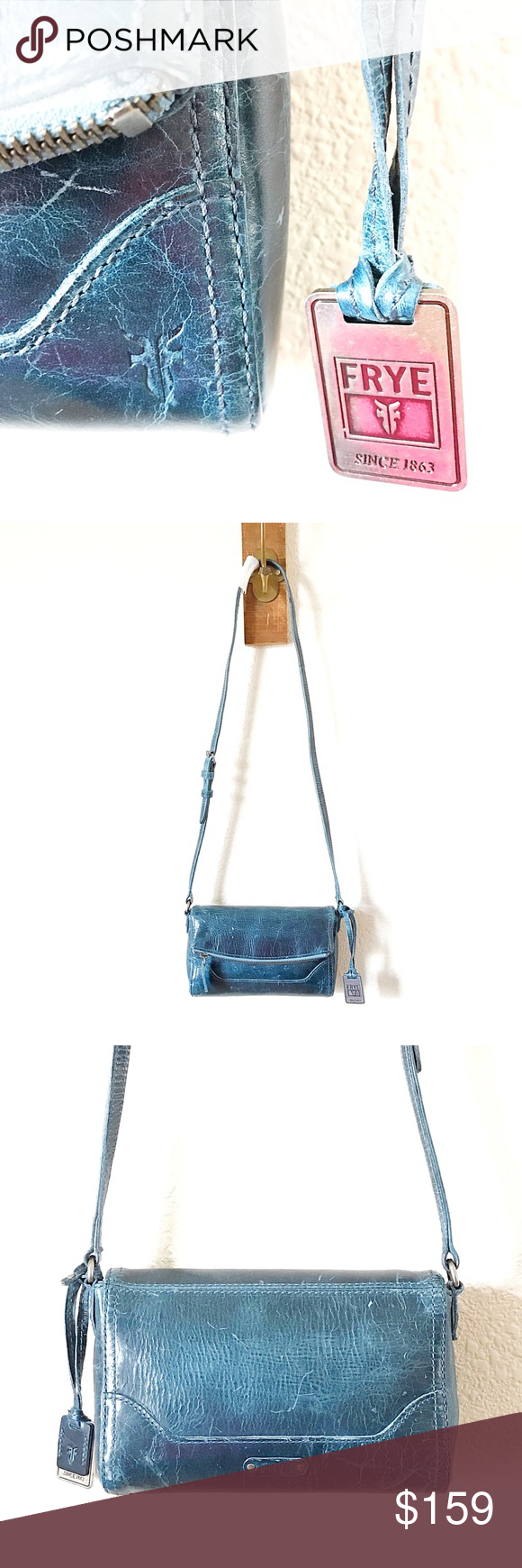 💥🌊NEW GORGEOUS FRYE LEATHER BAG🌊💥 OMG this bag is AWESOME!!! Such a beautiful color blue and it has such a cool rugged edgy leather look. Brand new with all tags attached & will be sent to you with the original dust bag (as pictured inside the bag). Frye Bags Crossbody Bags